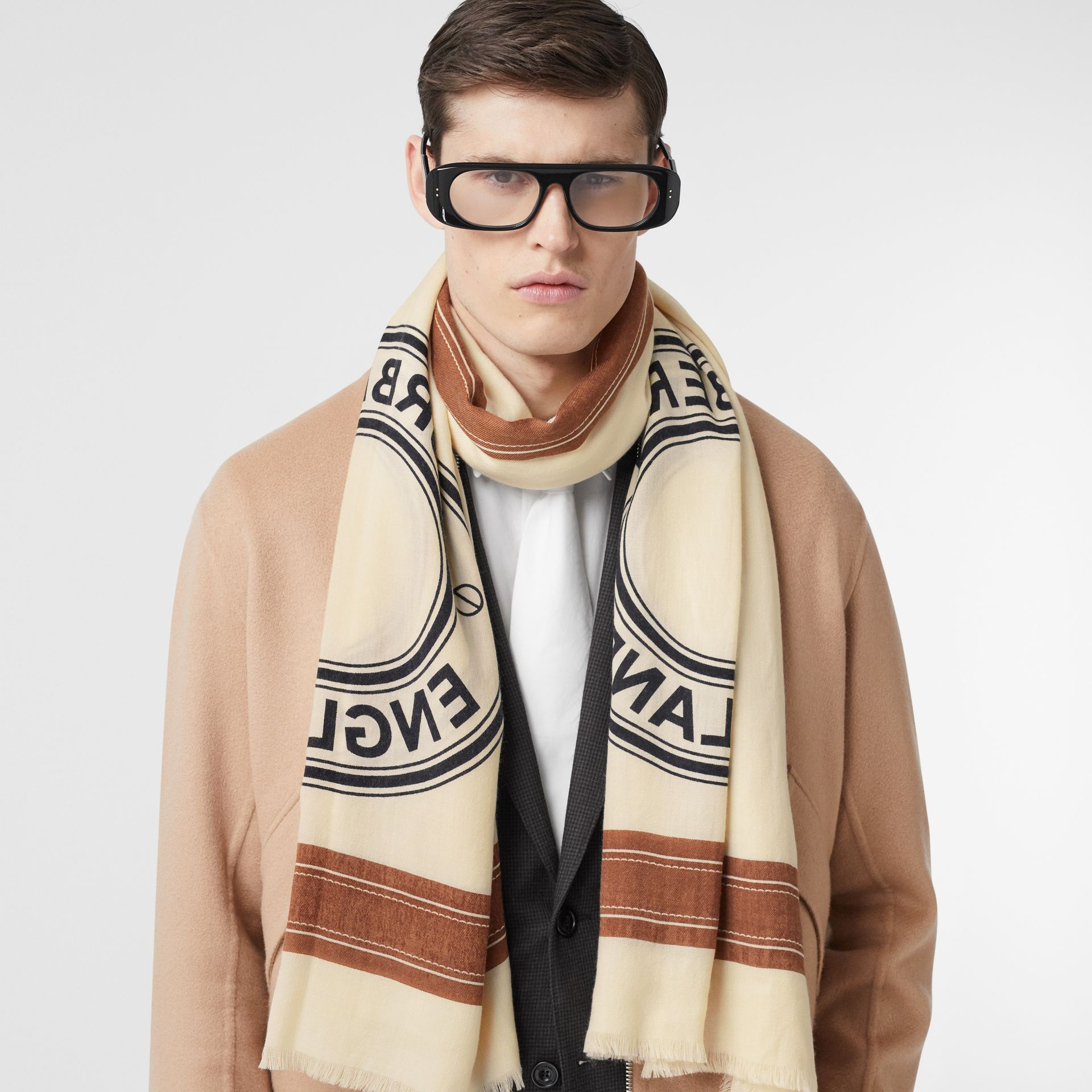 Logo Graphic Lightweight Cashmere Scarf in Natural White | Burberry Canada - gallery image 3