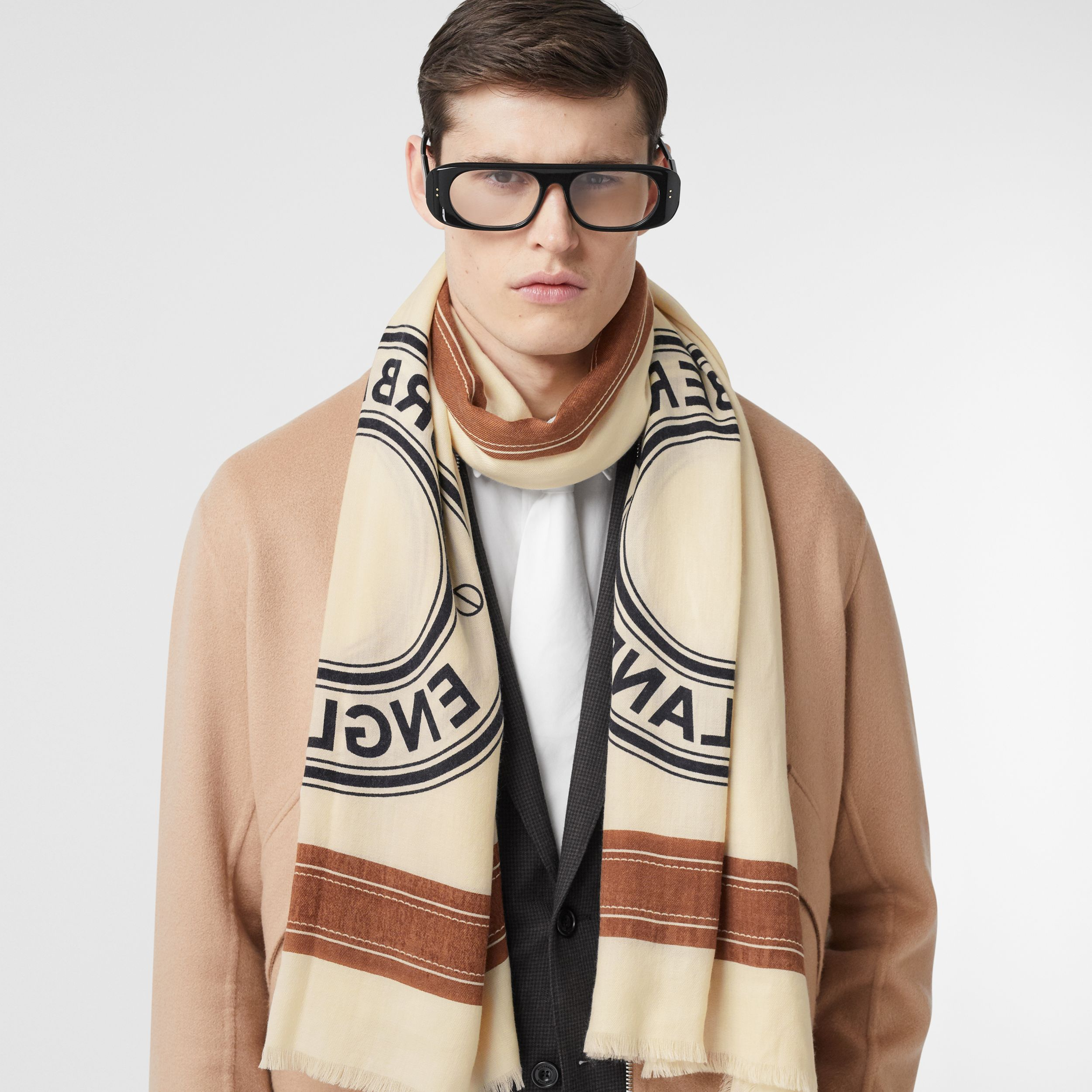 Logo Graphic Lightweight Cashmere Scarf in Natural White | Burberry - 4