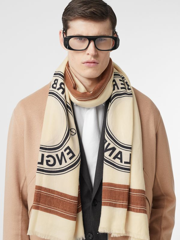 Logo Graphic Lightweight Cashmere Scarf in Natural White | Burberry Canada - cell image 3