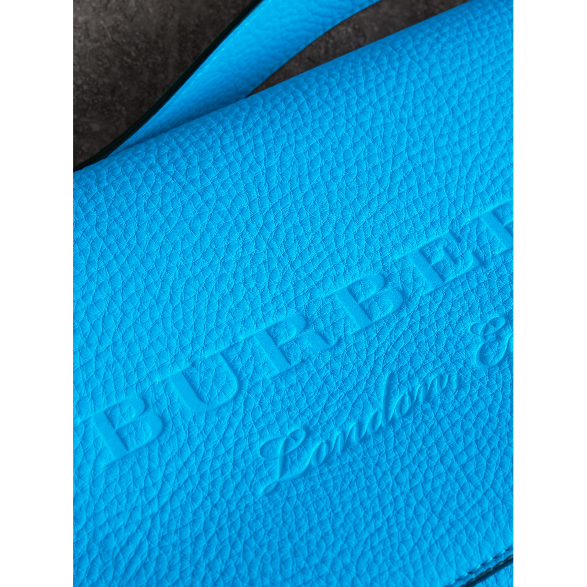Small Embossed Neon Leather Messenger Bag in Blue | Burberry - gallery image 1