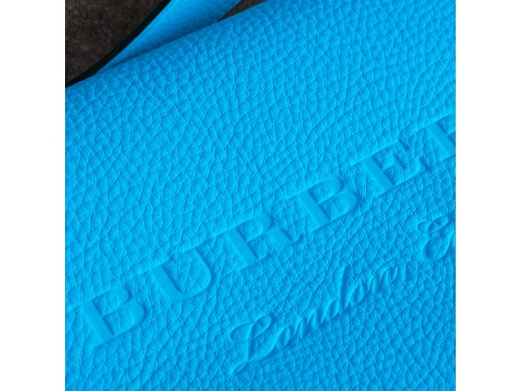 Small Embossed Neon Leather Messenger Bag in Blue | Burberry - cell image 1