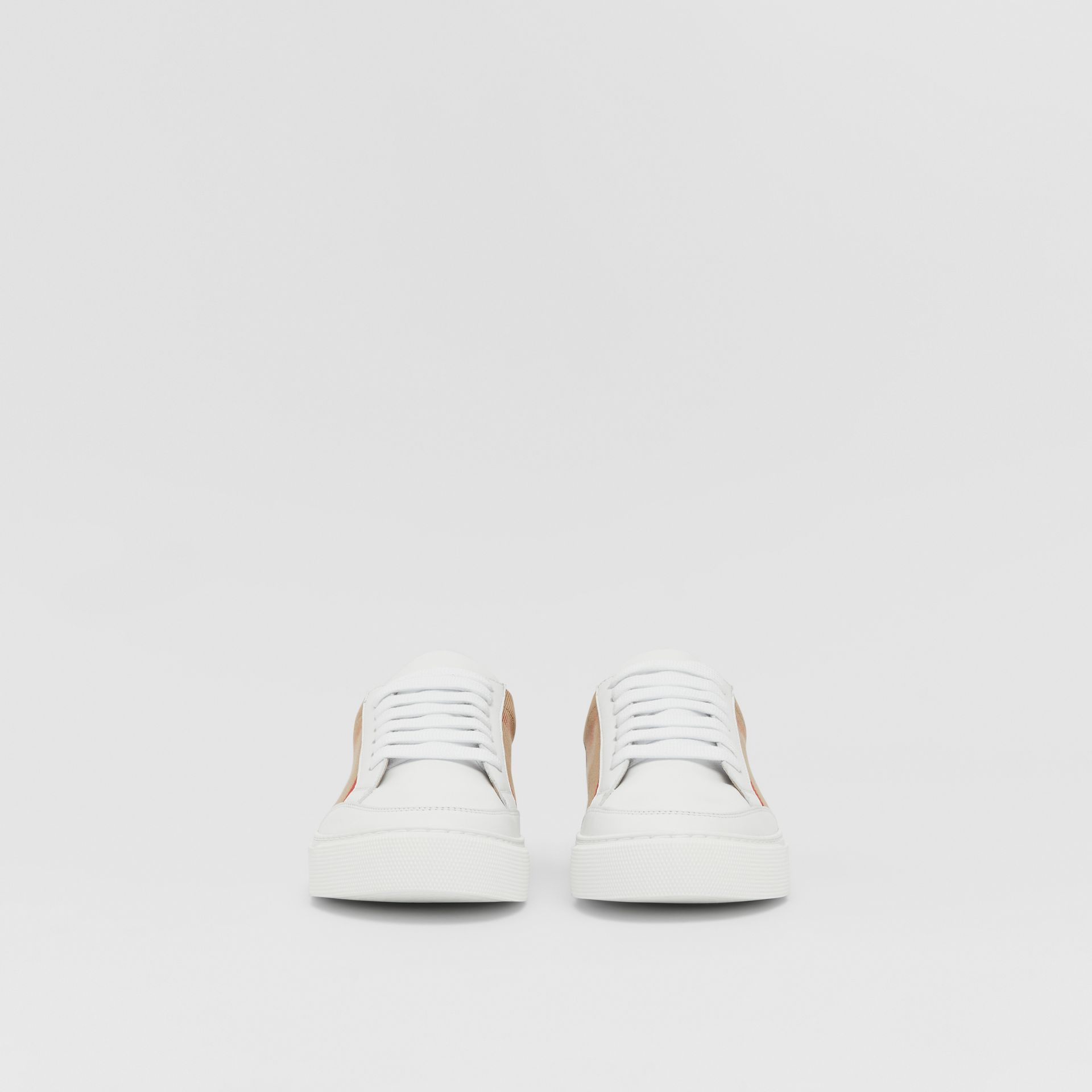House Check and Leather Sneakers in Optic White - Women | Burberry United Kingdom - gallery image 2