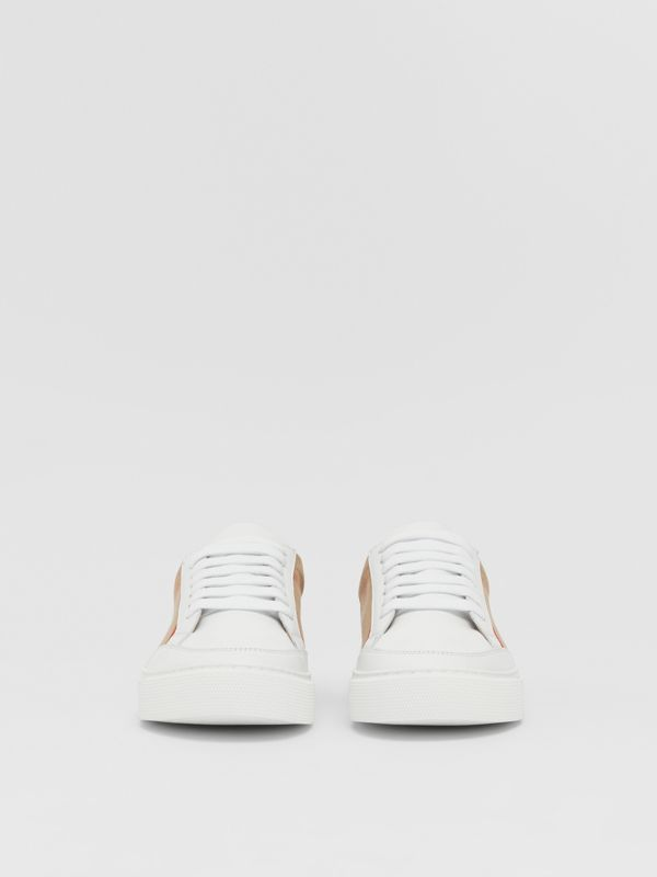 House Check and Leather Sneakers in Optic White - Women | Burberry United Kingdom - cell image 2