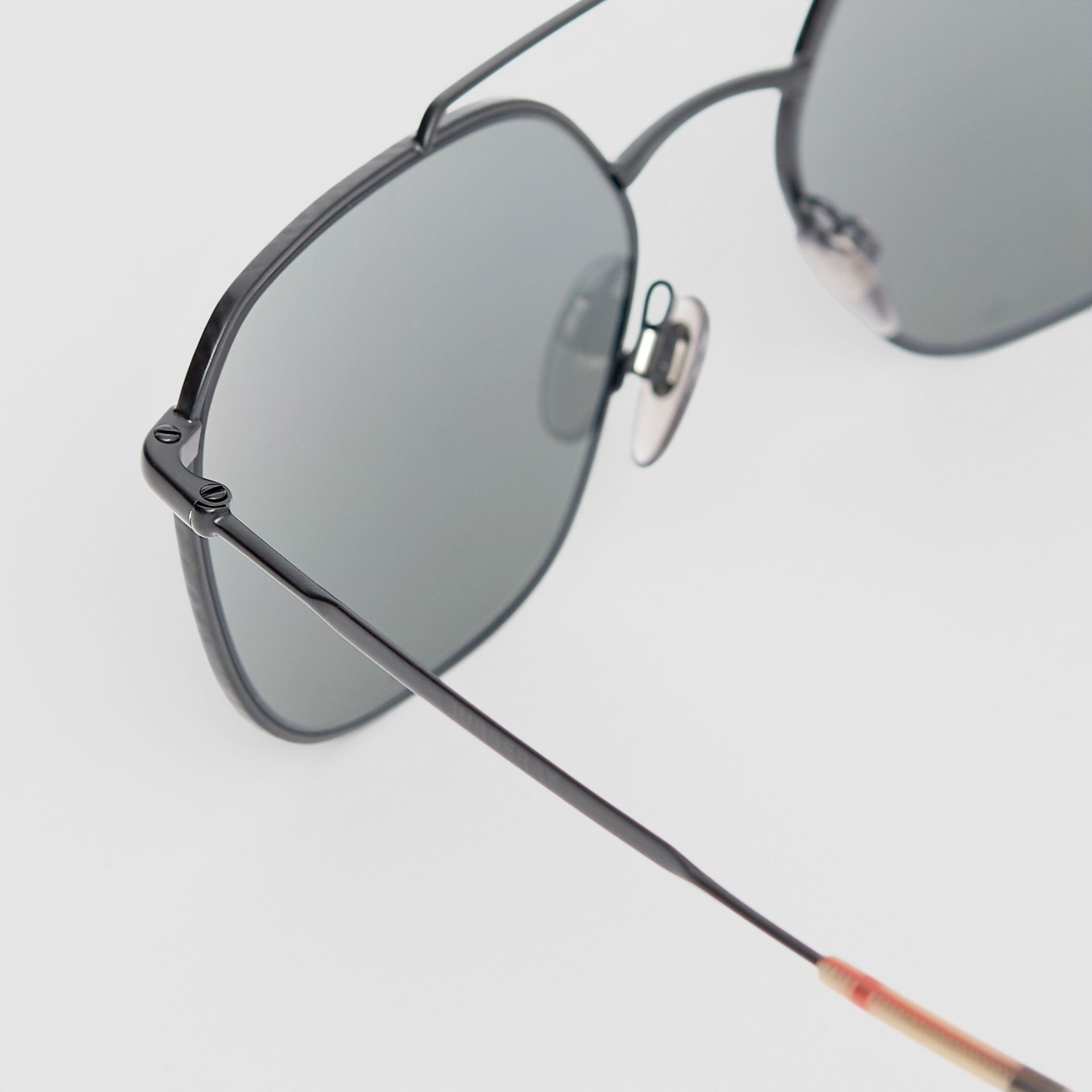 Top Bar Detail Square Pilot Sunglasses in Matt Black - Men | Burberry - gallery image 1