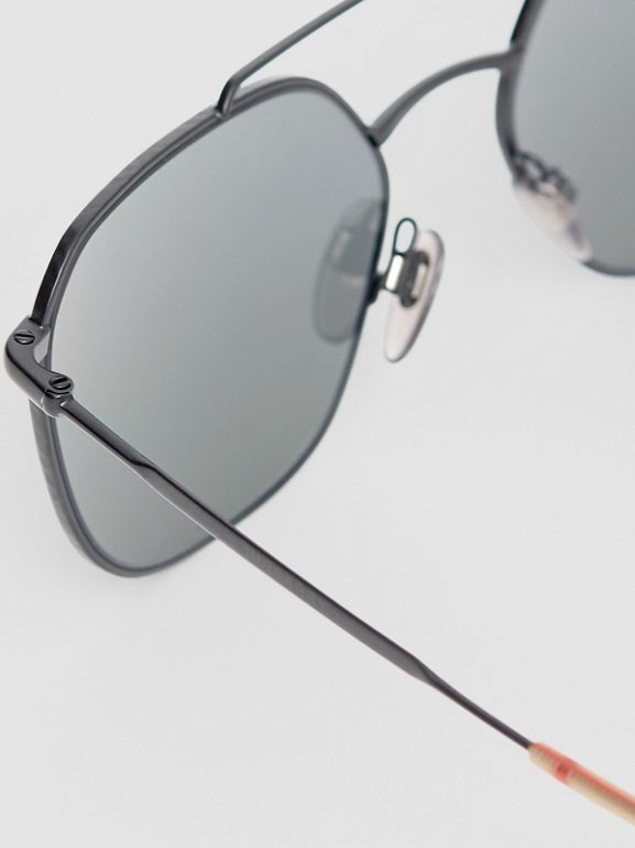 Top Bar Detail Square Pilot Sunglasses in Matt Black - Men | Burberry - cell image 1