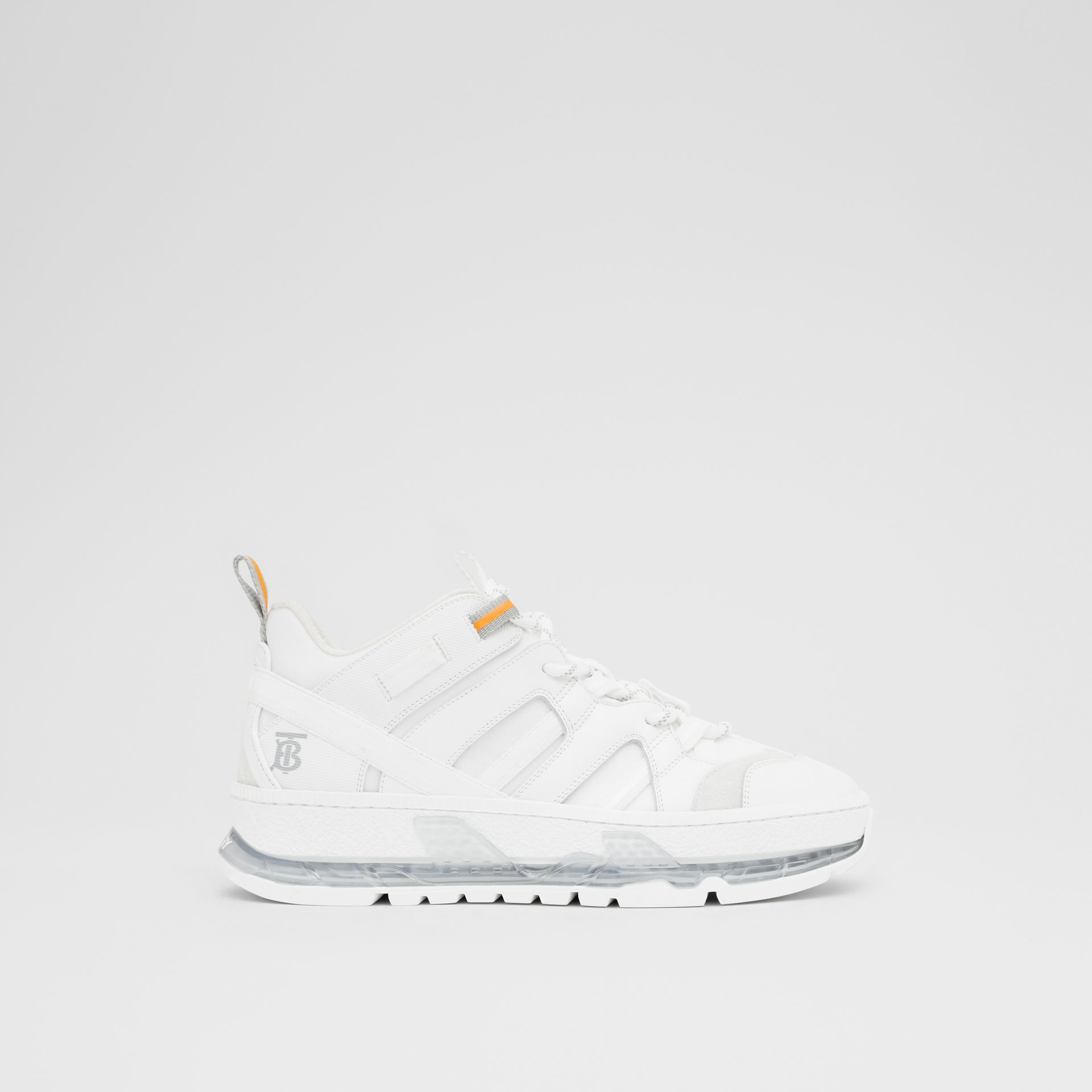 Nylon and Leather Union Sneakers in Optic White - Women | Burberry - gallery image 5