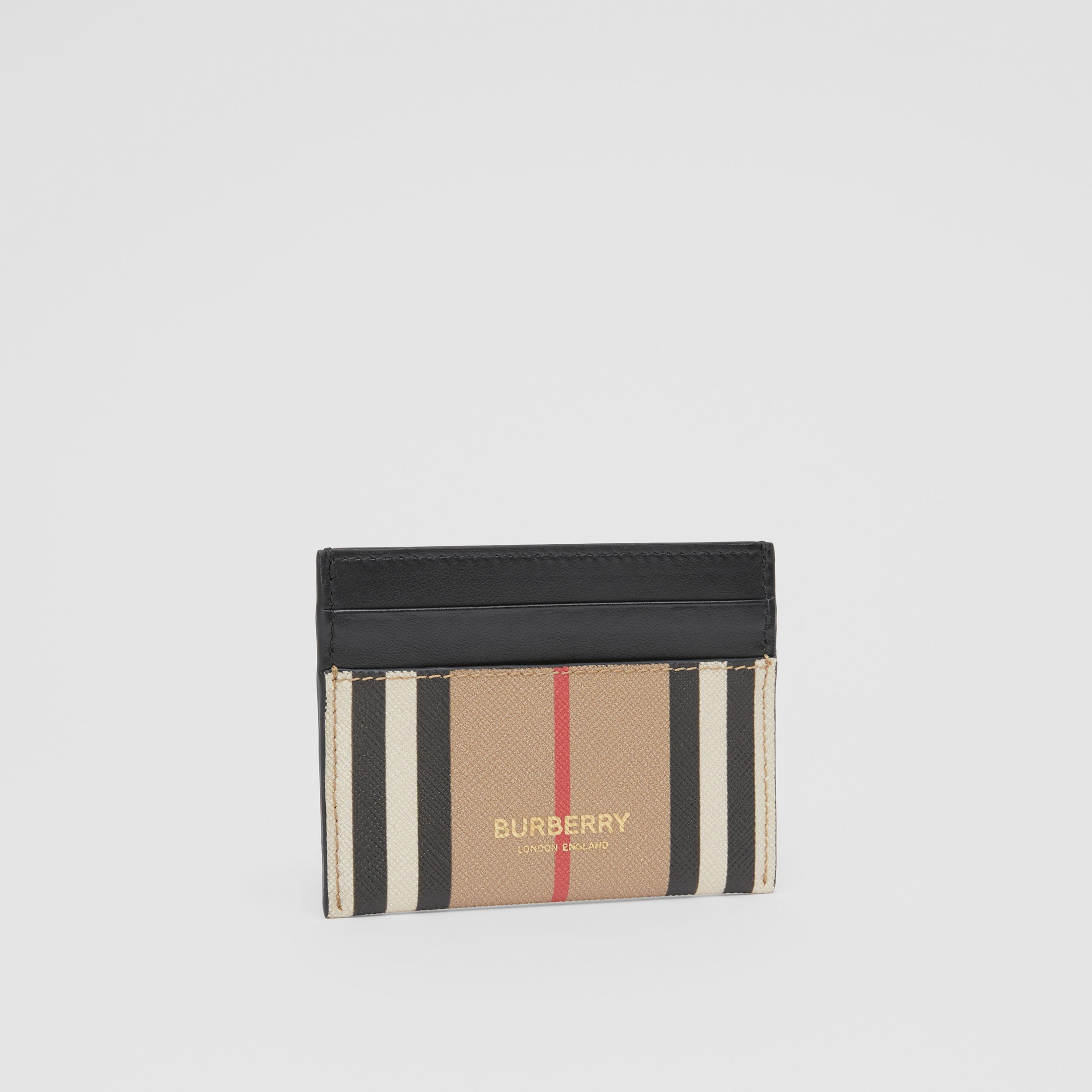 Icon Stripe E-canvas and Leather Card Case in Archive Beige | Burberry - 4