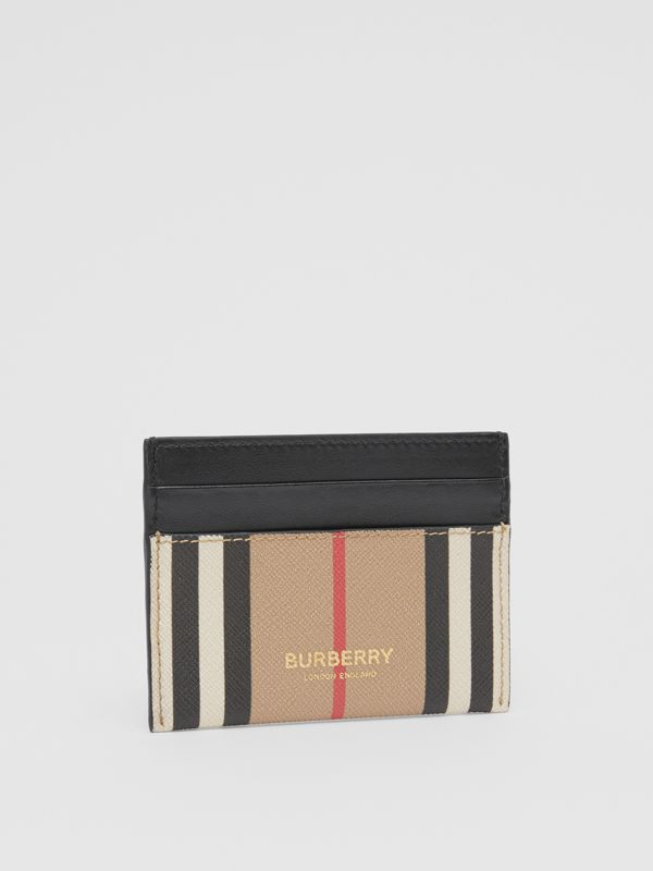 Icon Stripe E-canvas and Leather Card Case in Archive Beige - Women   Burberry United Kingdom - cell image 3