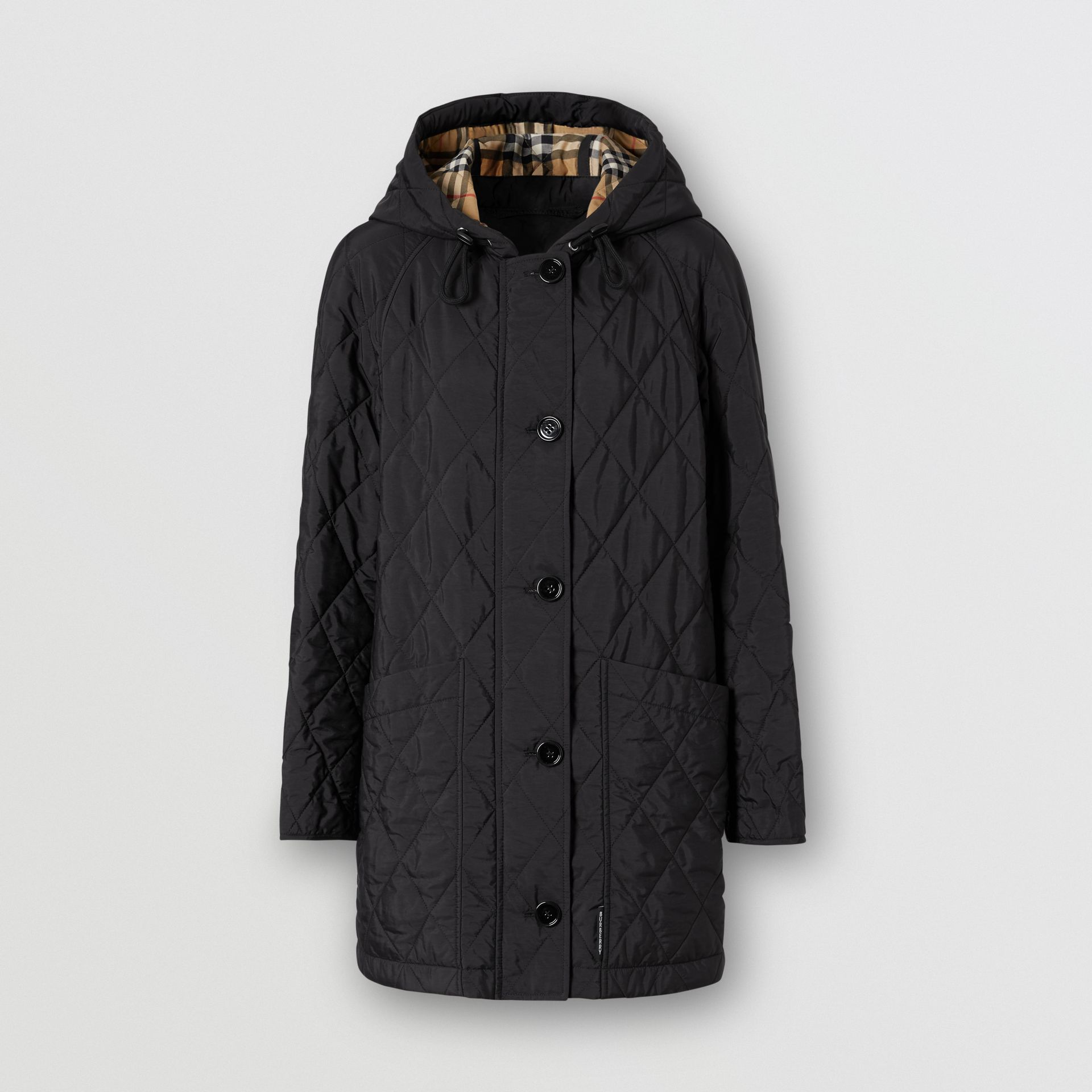 Diamond Quilted Thermoregulated Hooded Coat in Black - Women | Burberry - gallery image 3