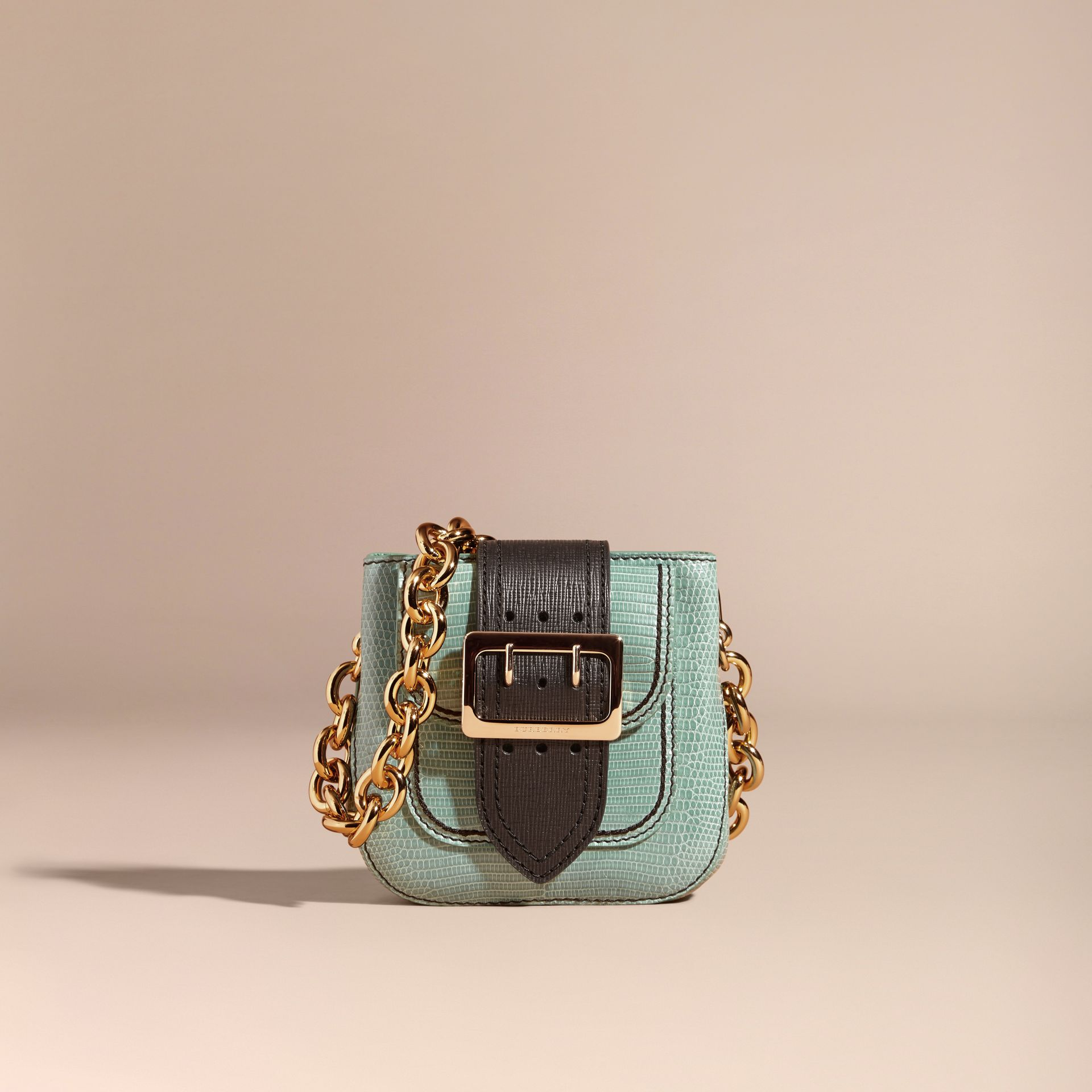 Dusty mint The Small Square Buckle Bag in Lizard - gallery image 7