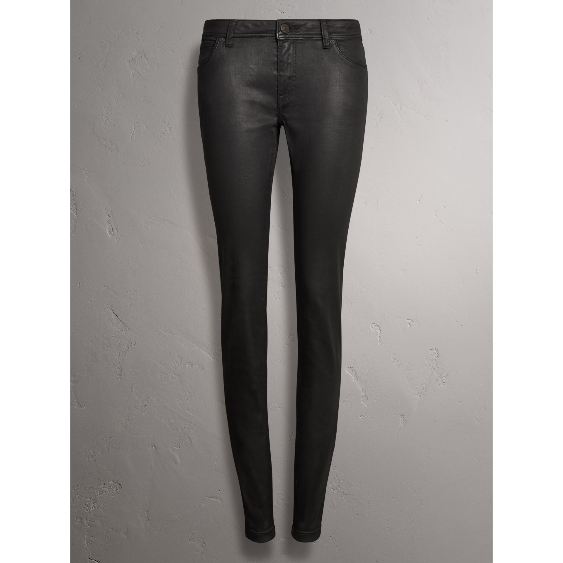 Skinny Fit Low-rise Wax Coated Jeans in Black - Women | Burberry United Kingdom - gallery image 3