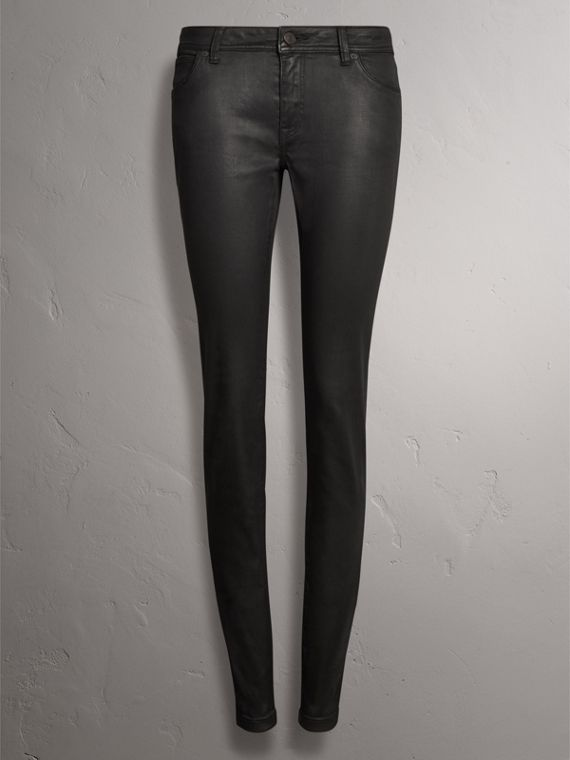 Skinny Fit Low-rise Wax Coated Jeans in Black - Women | Burberry - cell image 3