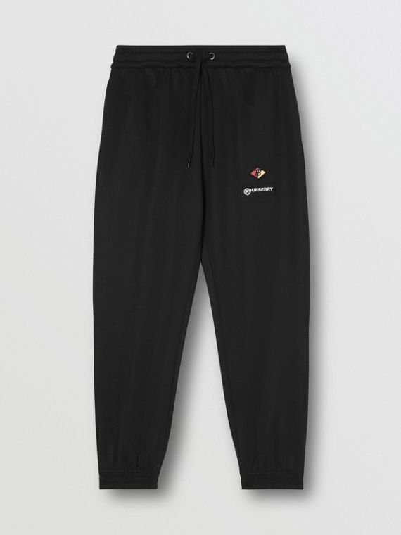 Logo Graphic Jersey Trackpants in Black