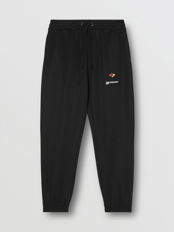 Трикотажные спортивные брюки с логотипом (Черный)