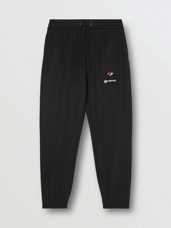Logo Graphic Jersey Trackpants in Black - Men | Burberry - cell image 3