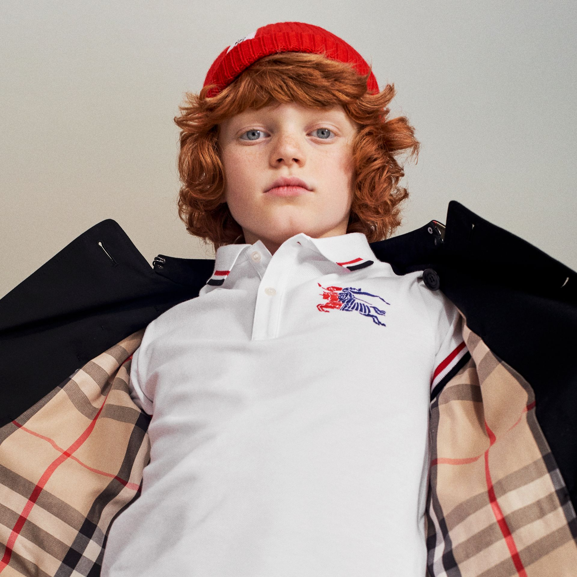 Stripe Detail Cotton Polo Shirt in White - Boy | Burberry - gallery image 1