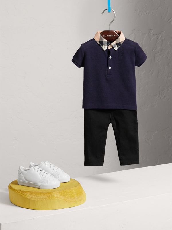 Check Collar Cotton Polo Shirt in True Navy - Children | Burberry - cell image 2