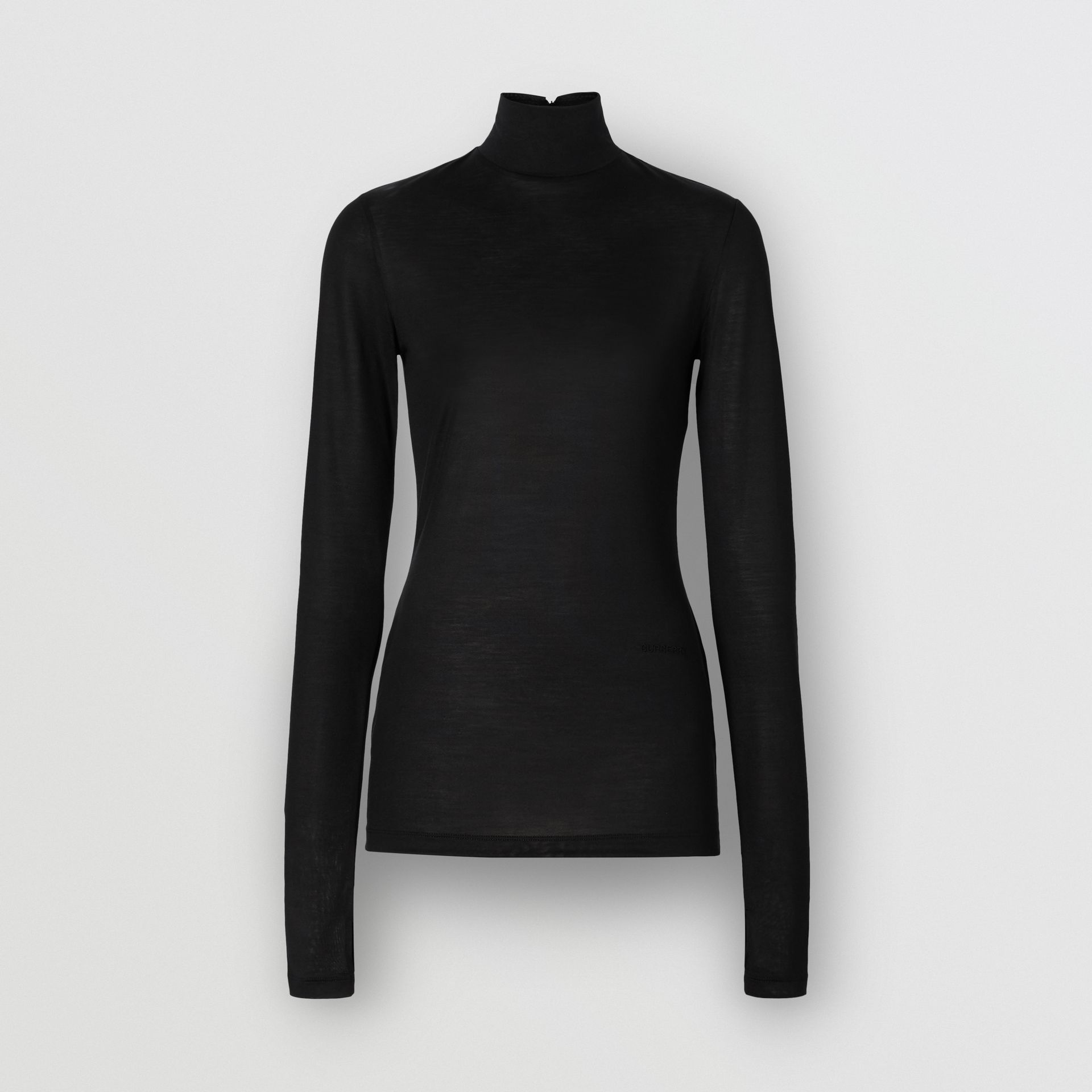 Silk Jersey Turtleneck Top in Black - Women | Burberry - gallery image 3
