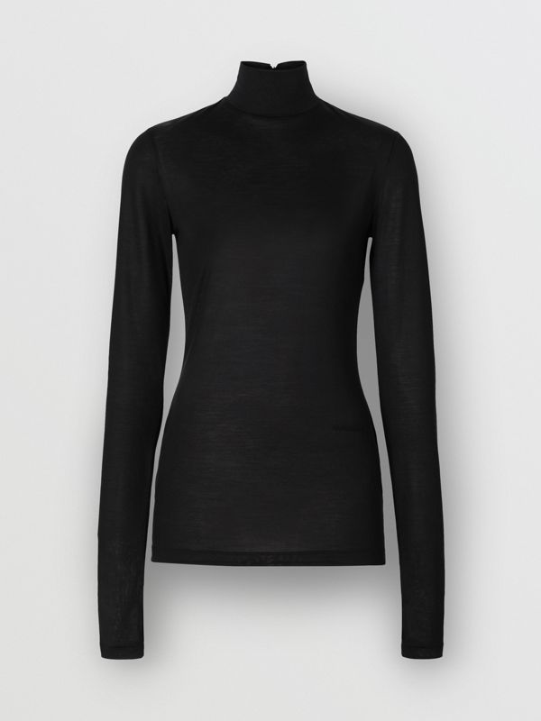 Silk Jersey Turtleneck Top in Black - Women | Burberry - cell image 3