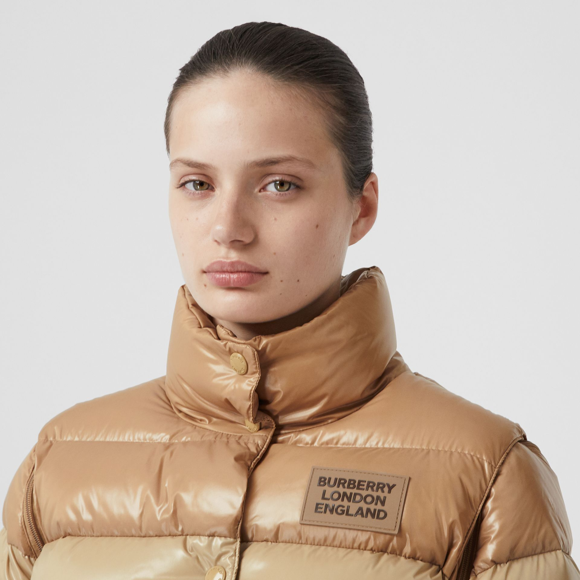 Panelled Nylon Puffer Jacket with Detachable Sleeves in Soft Camel - Women | Burberry - gallery image 1