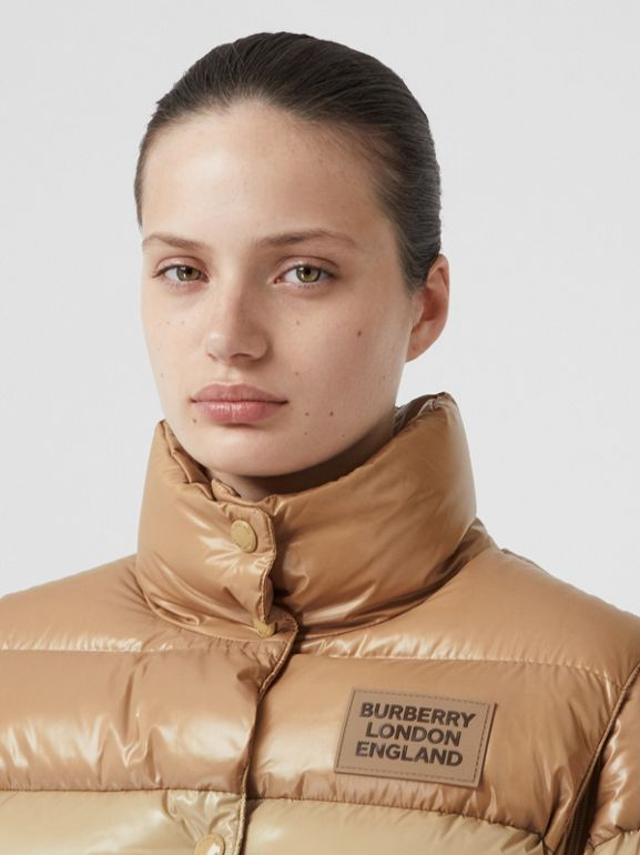 Panelled Nylon Puffer Jacket with Detachable Sleeves in Soft Camel - Women | Burberry - cell image 1