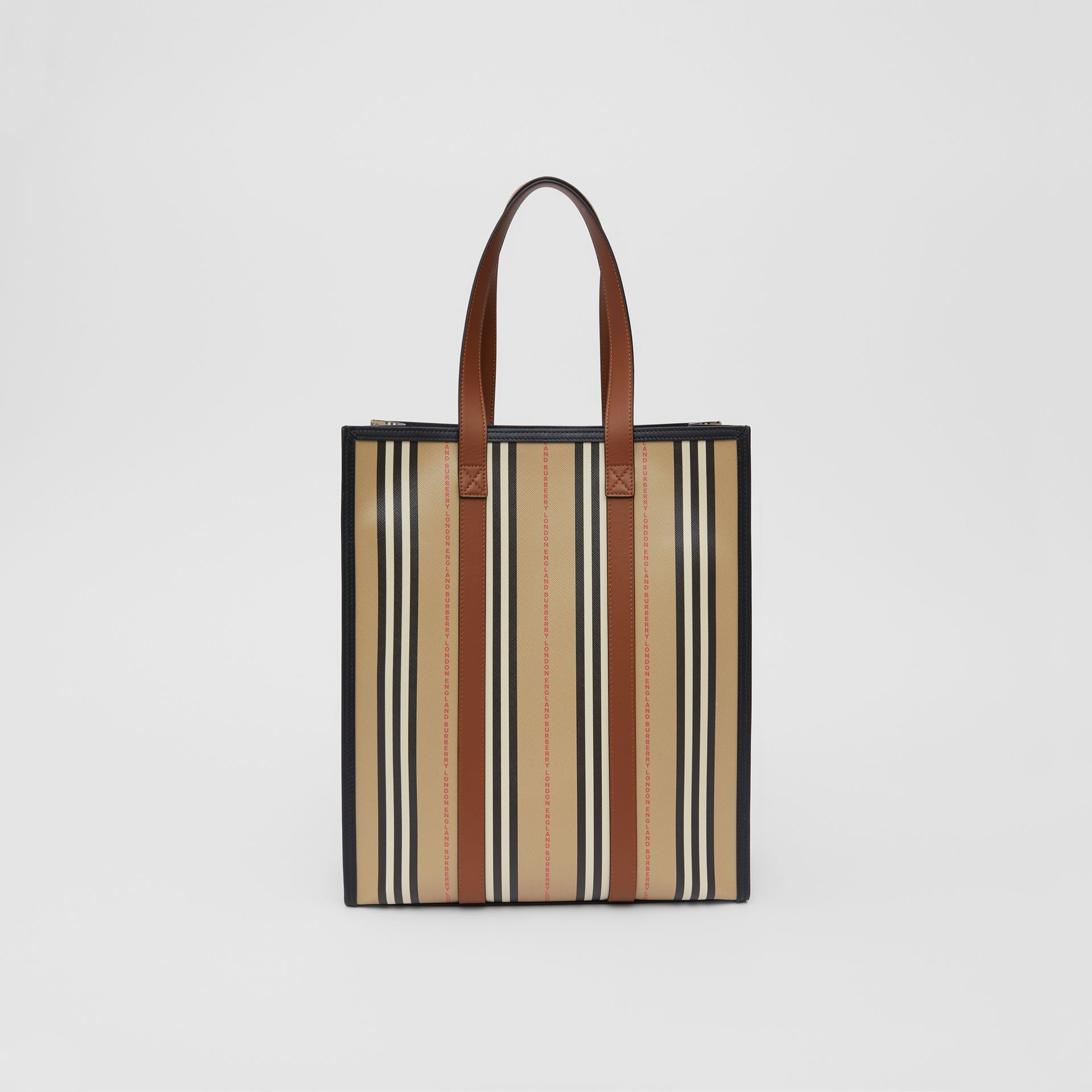 Logo and Stripe E-canvas Portrait Tote Bag in Tan/archive Beige - Women | Burberry Hong Kong S.A.R - gallery image 7