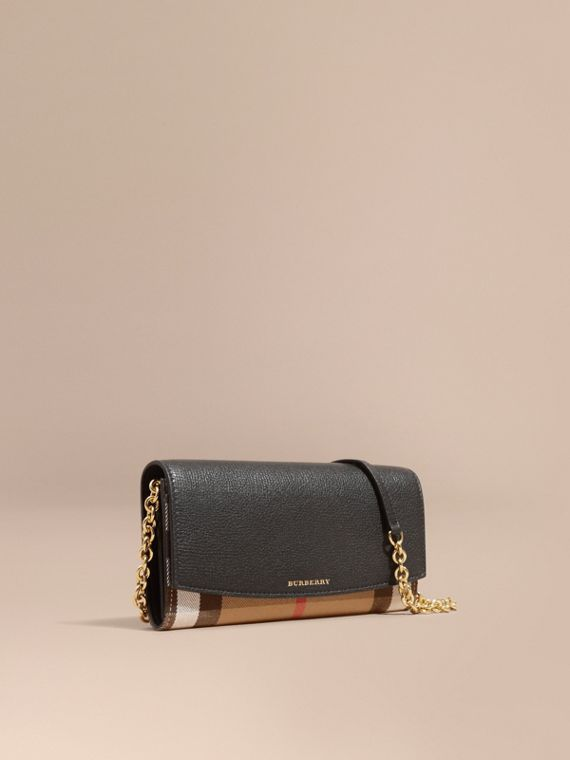 House Check and Leather Wallet with Chain in Black - Women | Burberry Australia