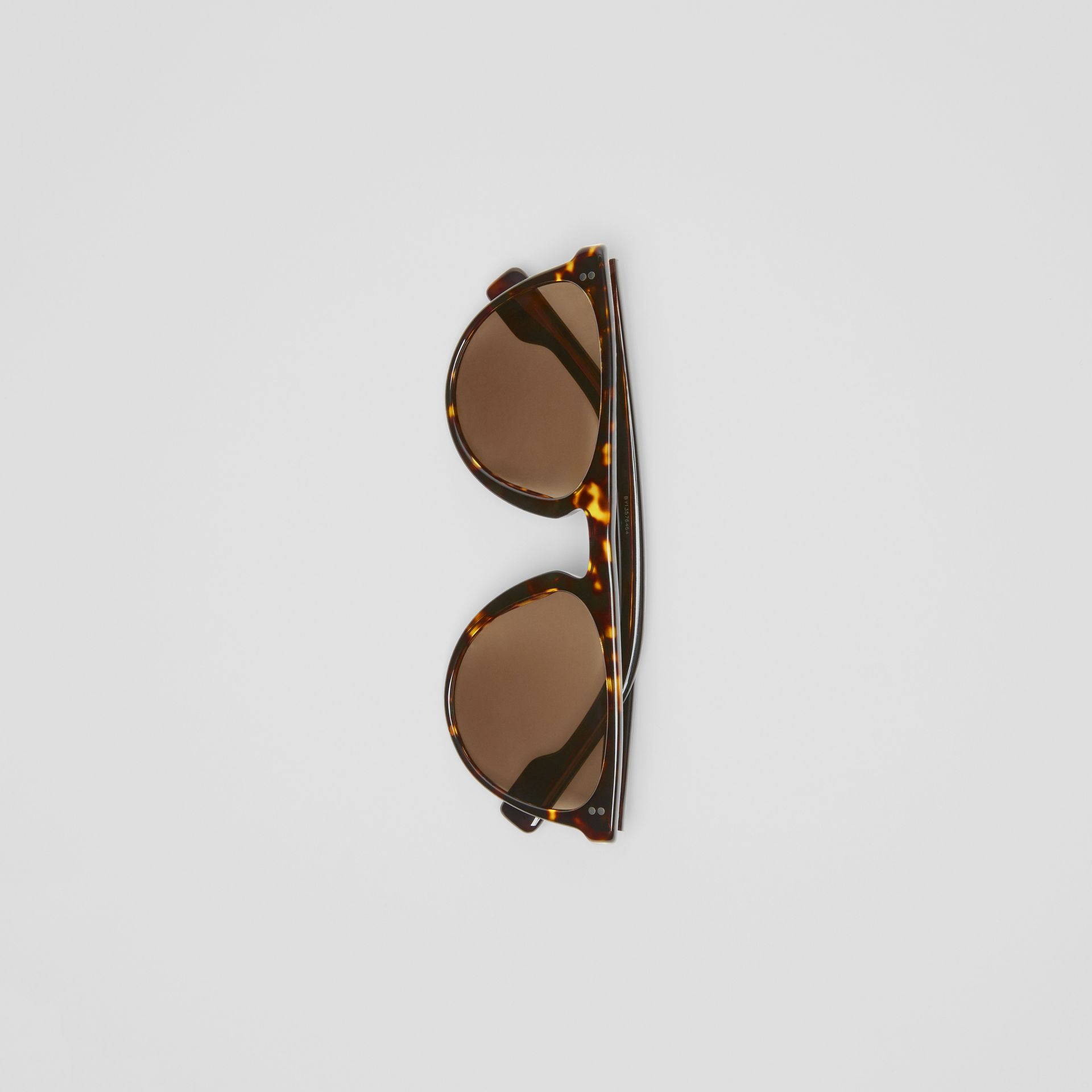 Keyhole D-shaped Sunglasses in Tortoise Shell - Men | Burberry - gallery image 3