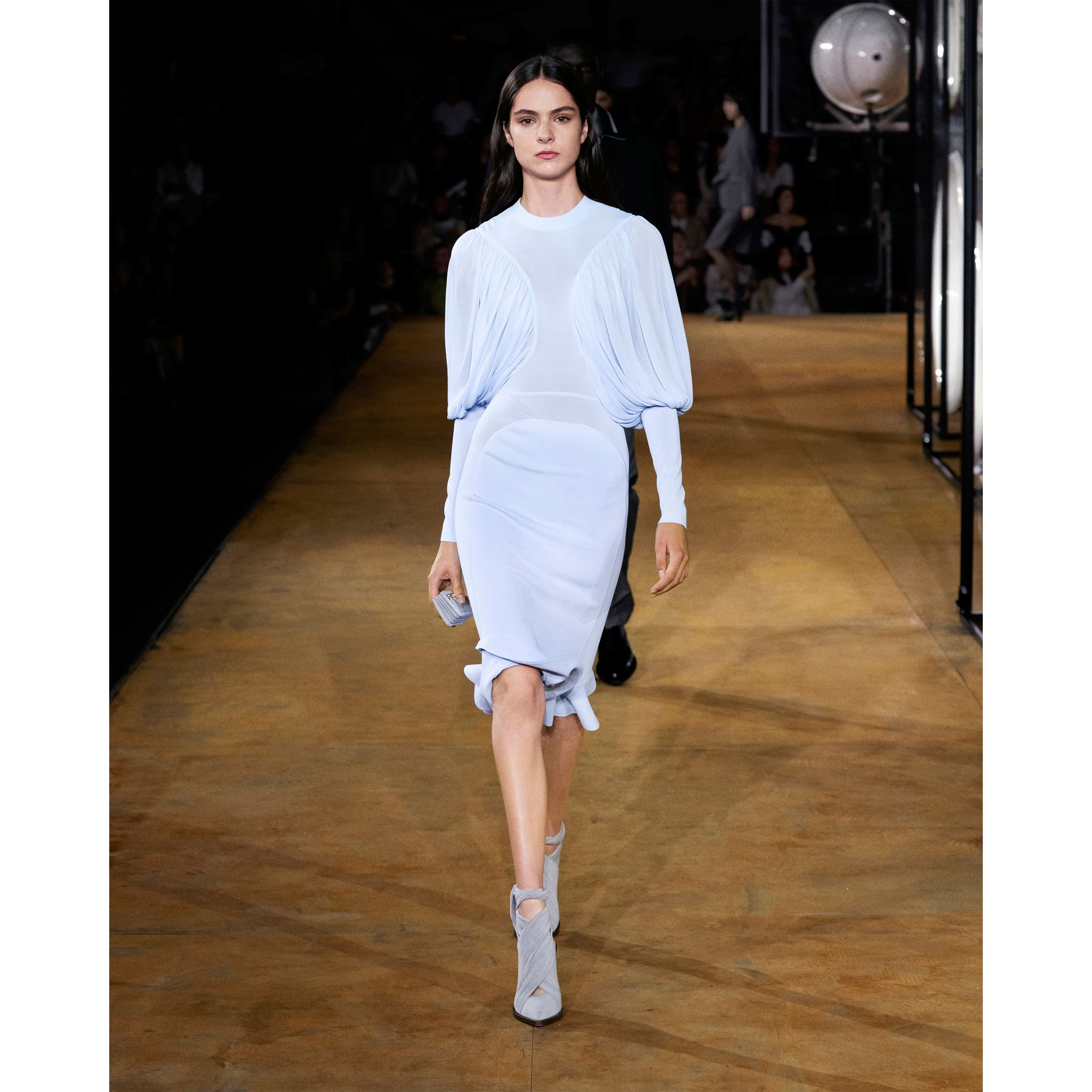 Puff-sleeve Jersey Dress in Pale Blue - Women | Burberry United Kingdom - gallery image 6