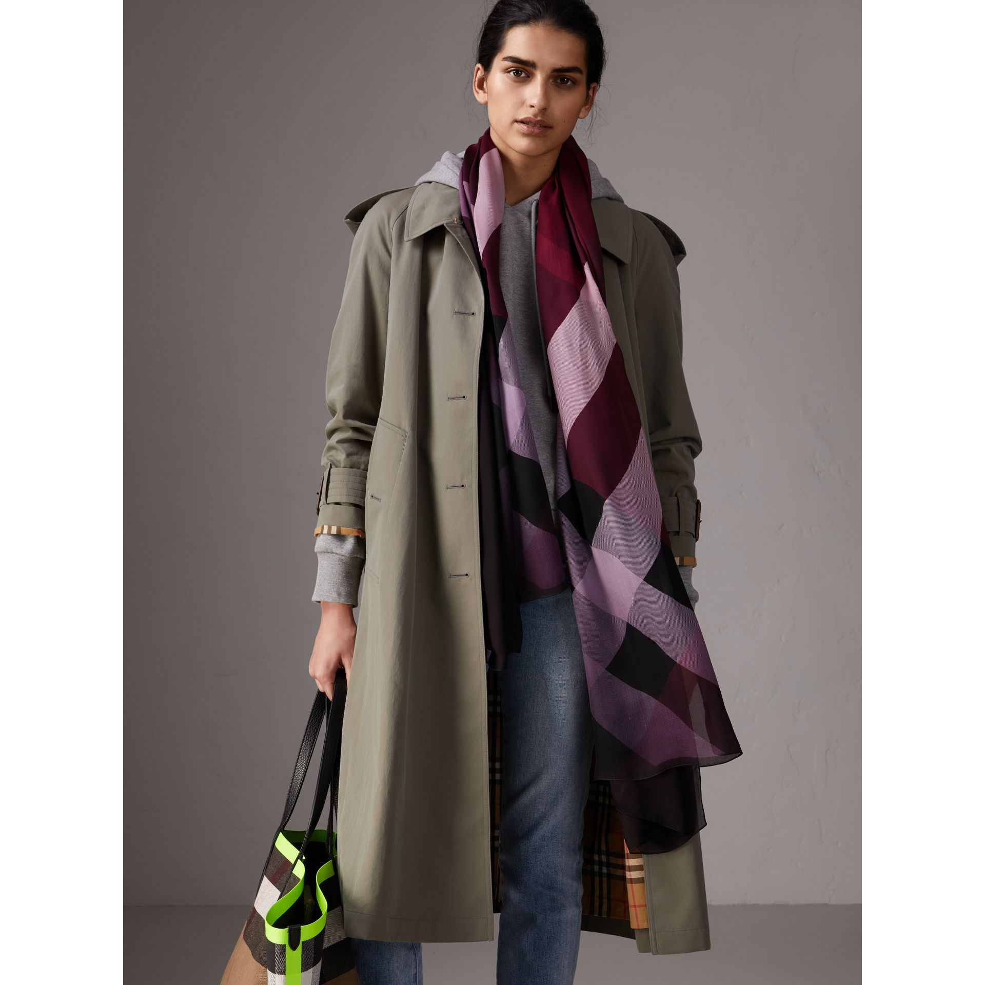 Ombré Washed Check Silk Scarf in Plum - Women | Burberry - gallery image 3