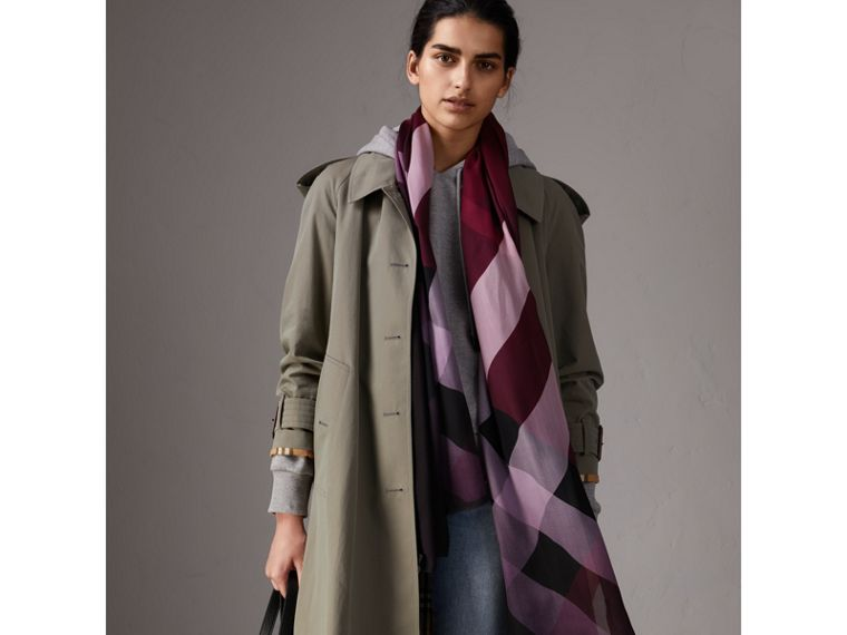 Ombré Washed Check Silk Scarf in Plum - Women | Burberry United Kingdom - cell image 2