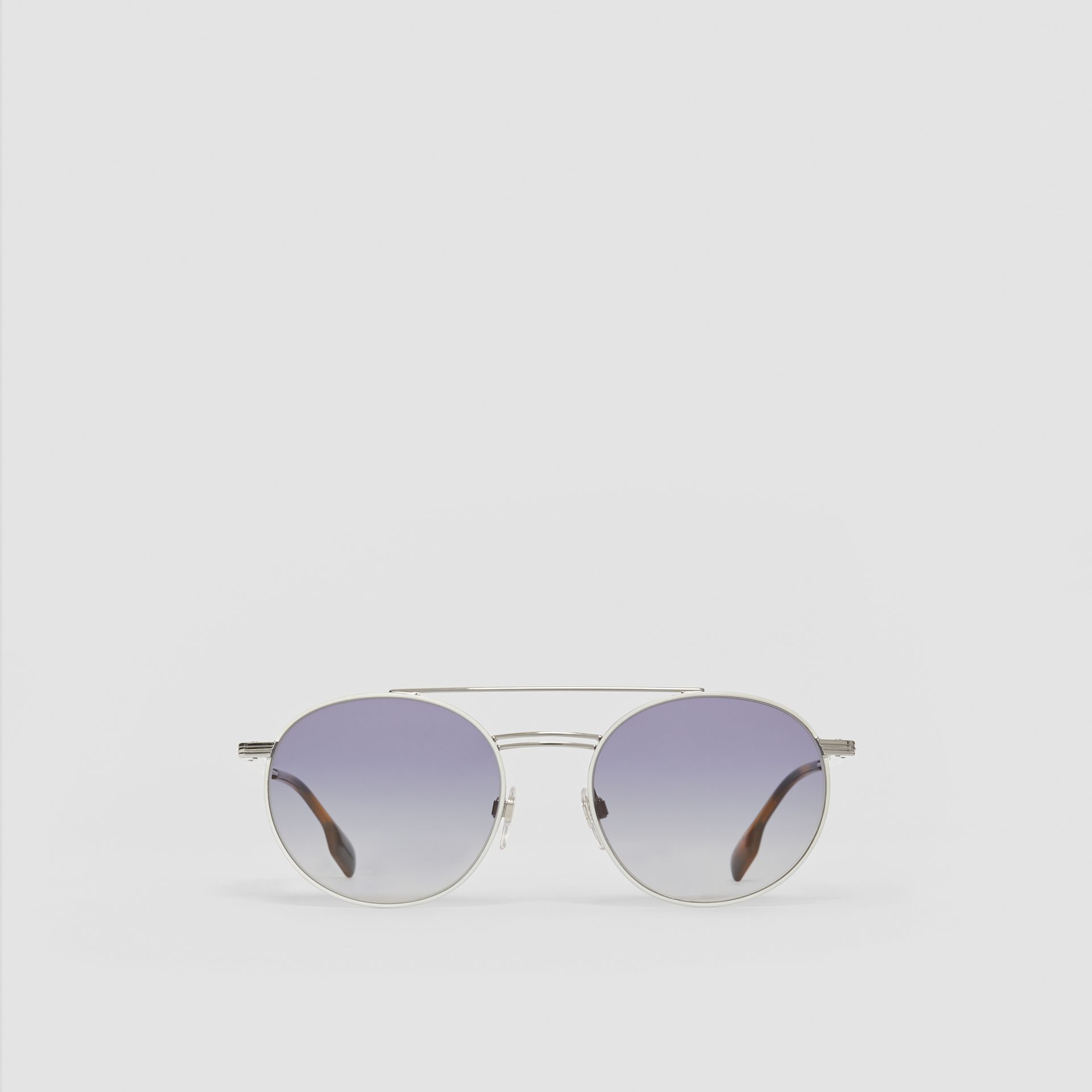 Top Bar Detail Round Frame Sunglasses in Silver - Men | Burberry United Kingdom - gallery image 0