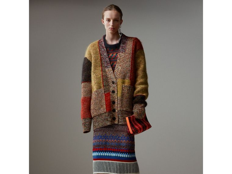 Hand-crocheted Detail Cashmere Wool Blend Skirt in Multicolour - Women | Burberry - cell image 4