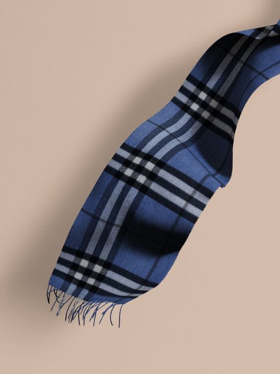 The Classic Cashmere Scarf in Check Cadet Blue