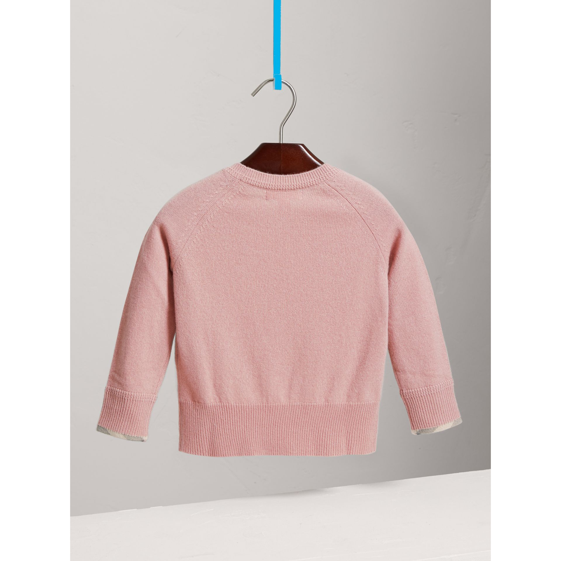 Check Detail Cashmere Sweater in Dusty Pink - Girl | Burberry - gallery image 3
