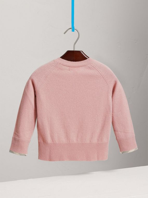 Check Detail Cashmere Sweater in Dusty Pink - Girl | Burberry - cell image 3