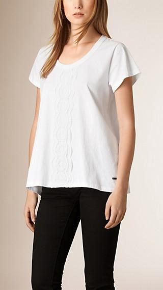 Lace Detail Cotton T-Shirt