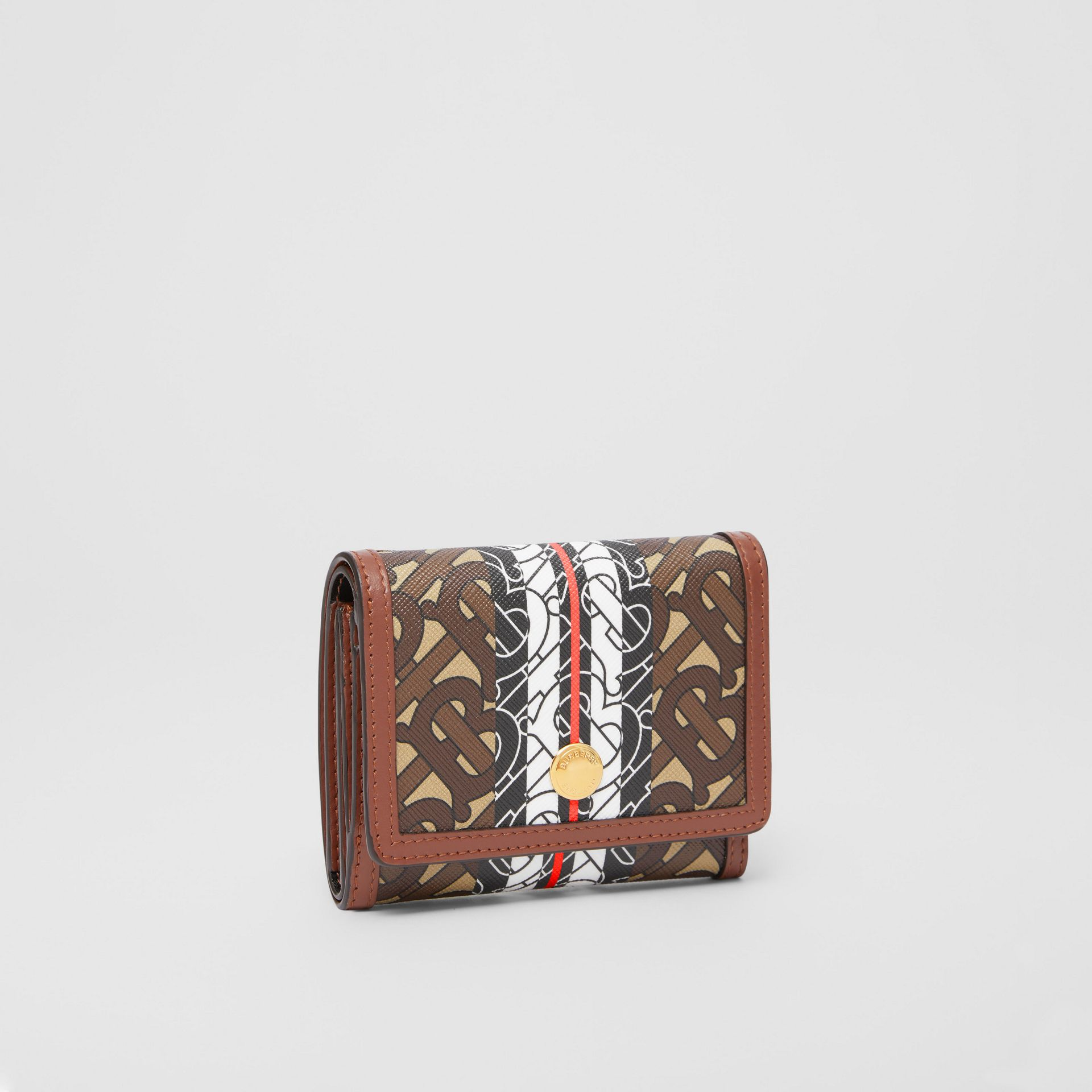 Small Monogram Stripe E-canvas Folding Wallet in Bridle Brown - Women | Burberry - gallery image 4