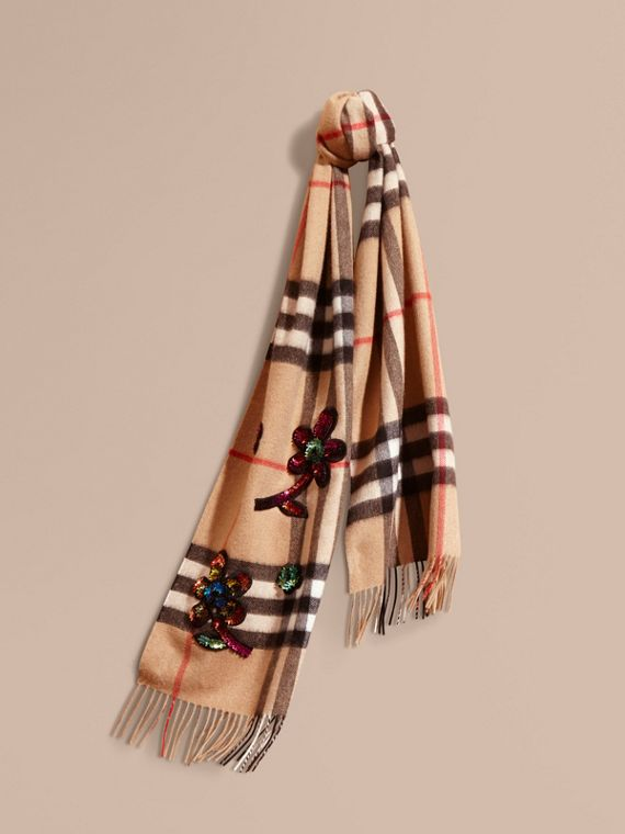 The Classic Cashmere Scarf in Check with Sequinned Flowers