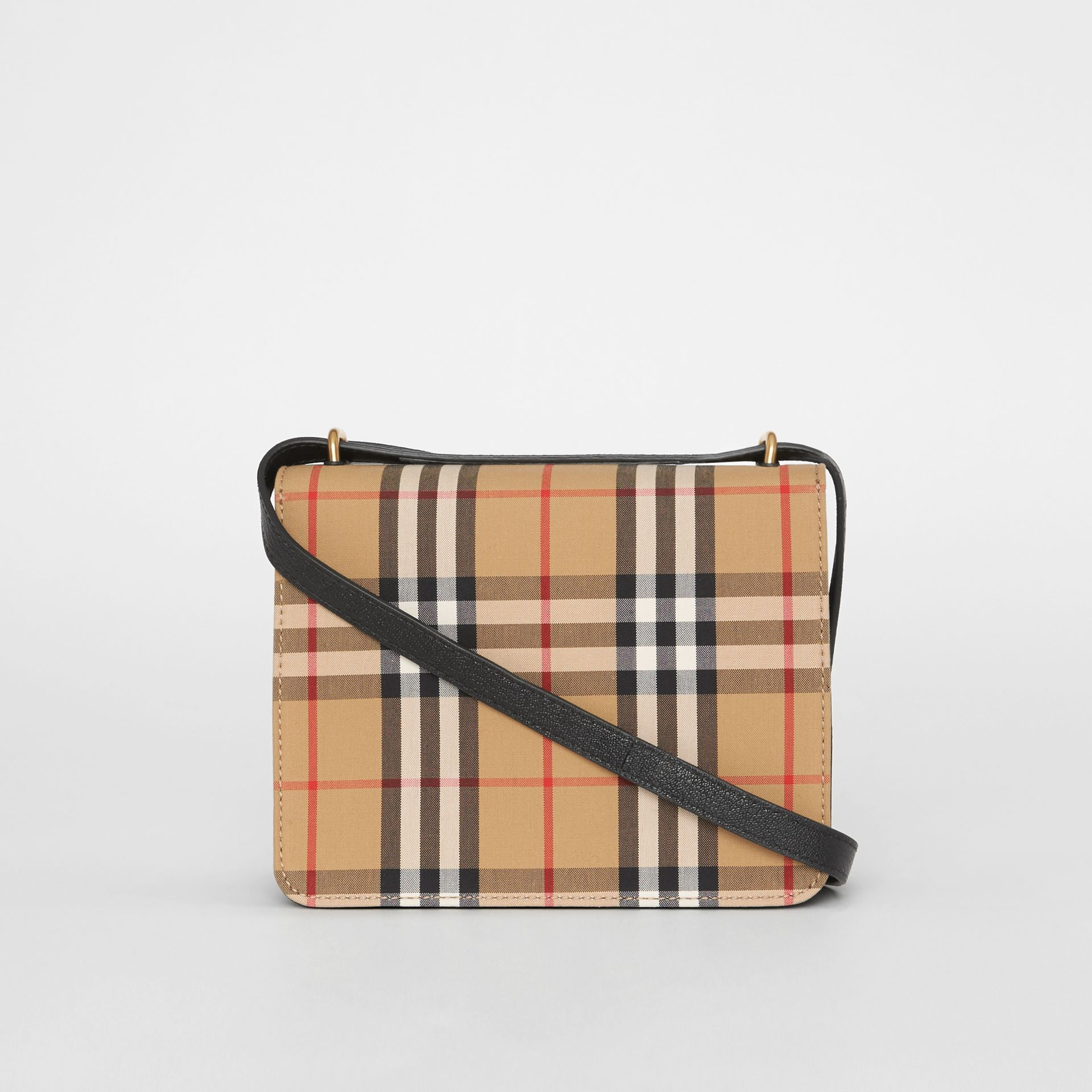The Small Vintage Check and Leather D-ring Bag in Black/antique Yellow - Women | Burberry United Kingdom - gallery image 7