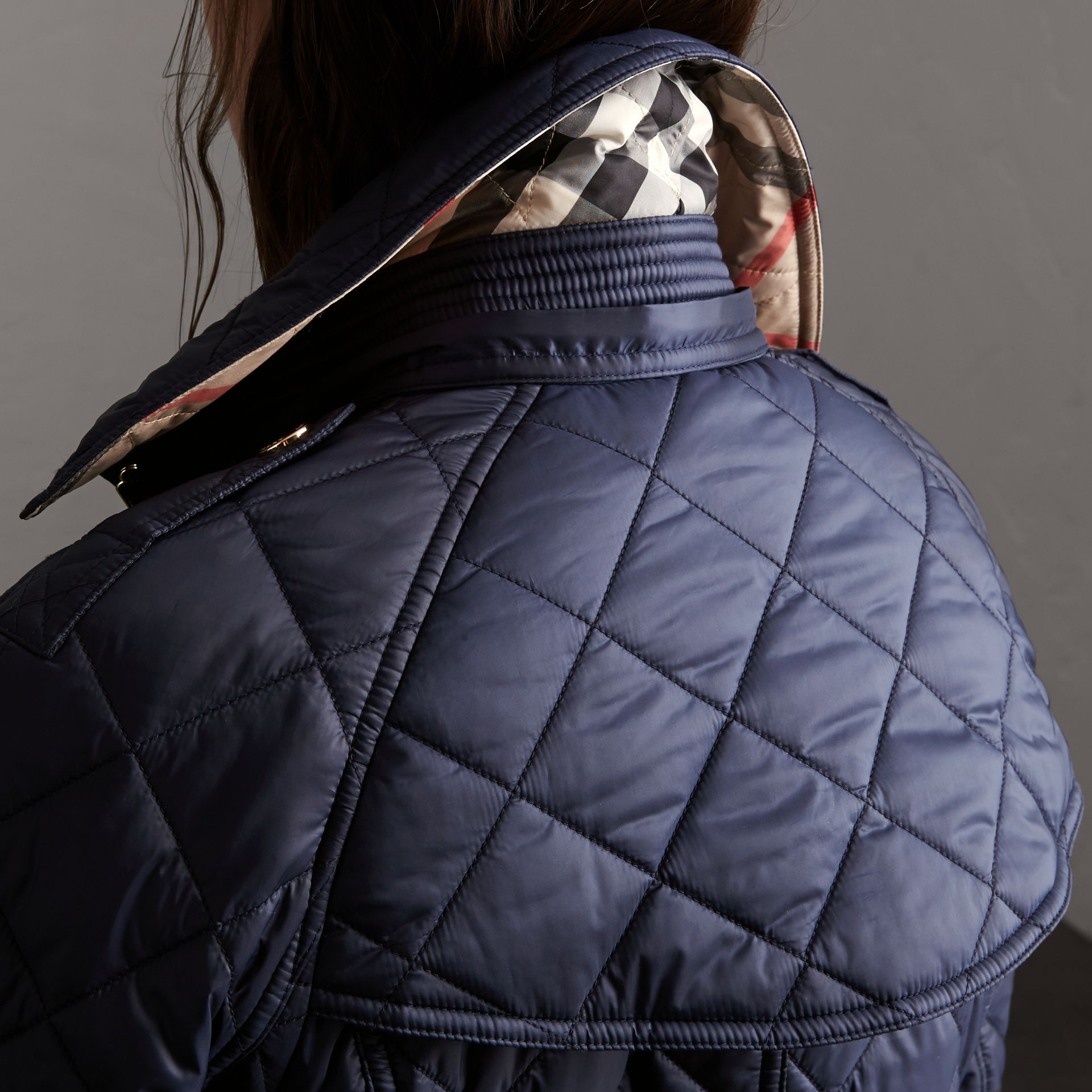 Detachable Hood Quilted Showerproof Parka in Ink - Women | Burberry - gallery image 3