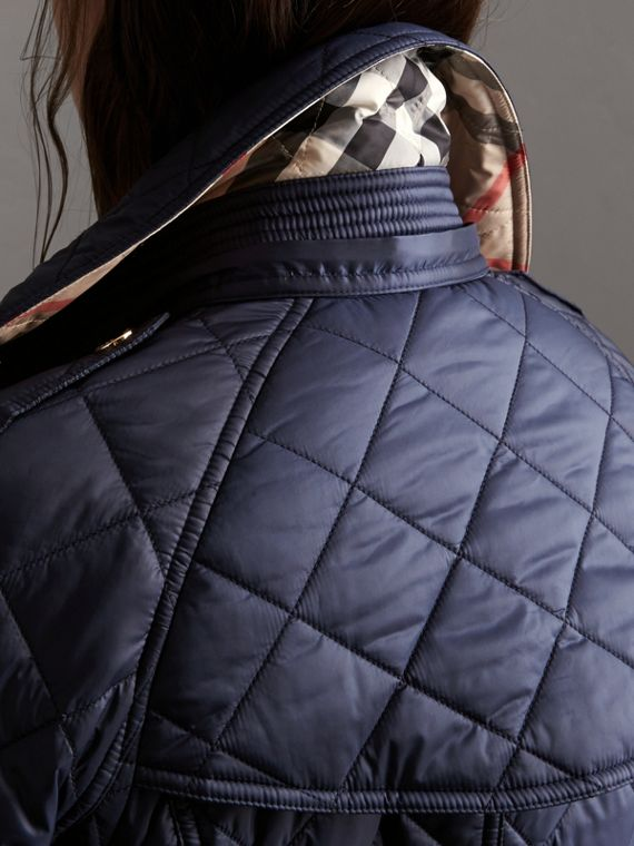 Detachable Hood Quilted Showerproof Parka in Ink - cell image 2