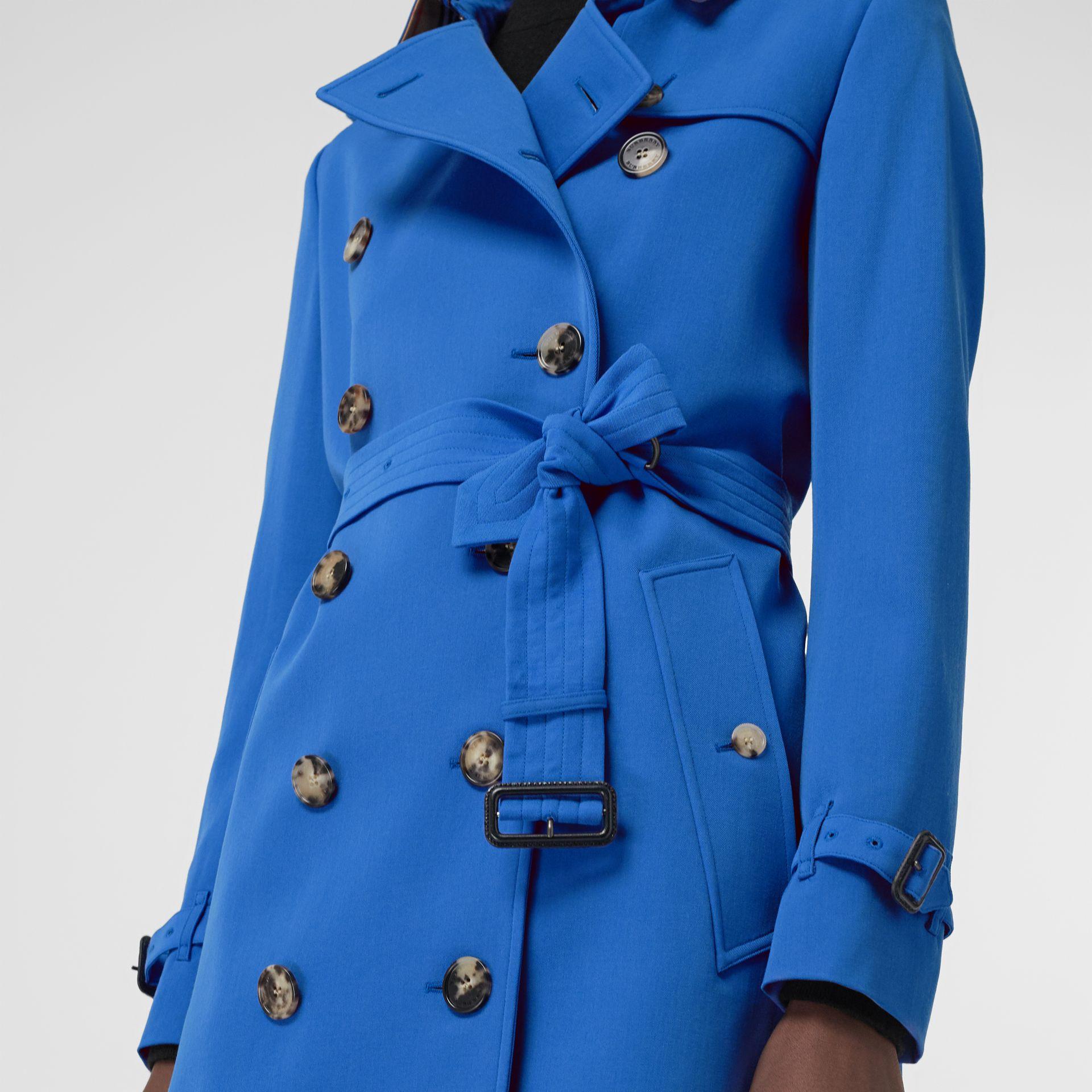 Wool Gabardine Trench Coat in Sky Blue - Women | Burberry - gallery image 4