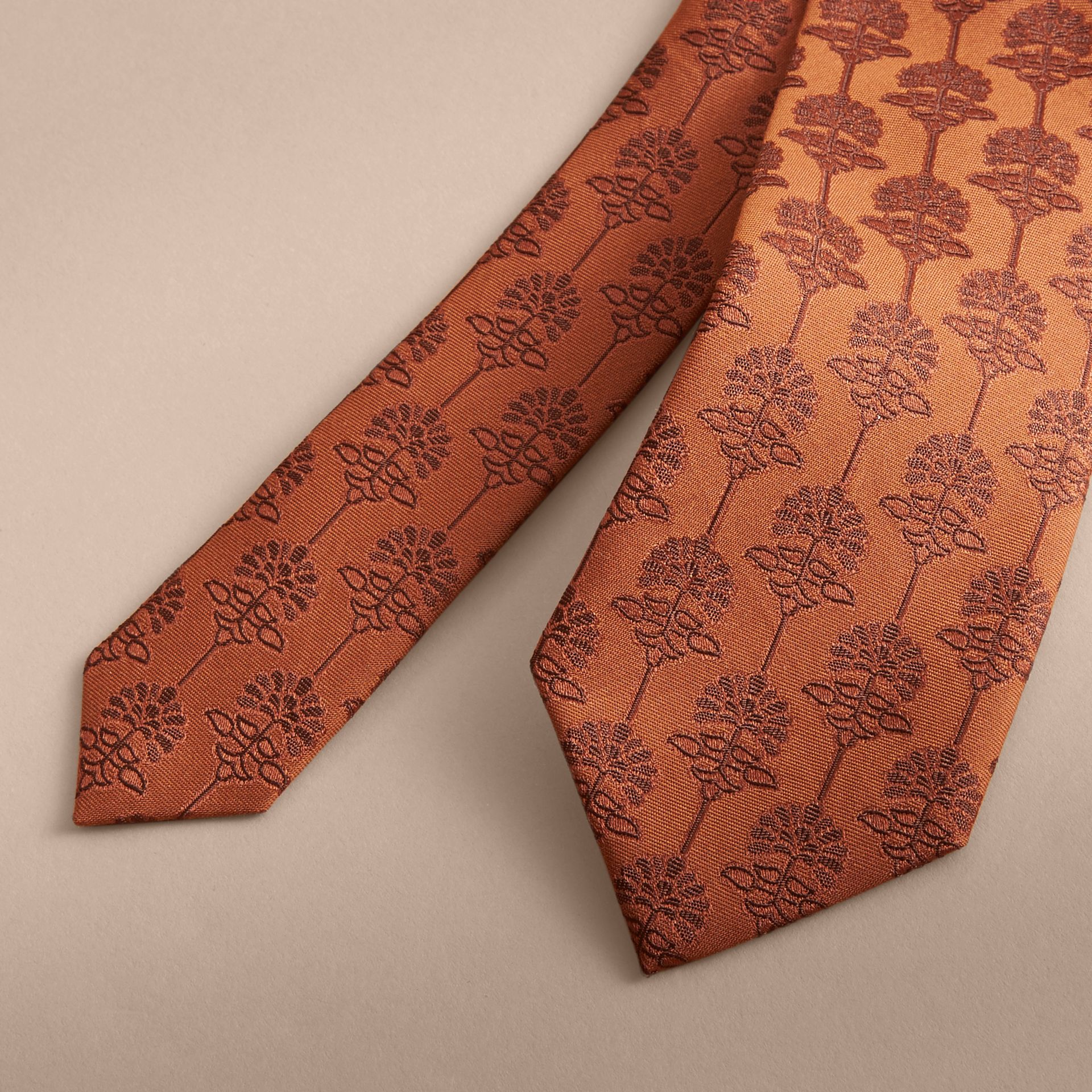 Slim Cut Floral Jacquard Silk Cotton Tie in Russet - Men | Burberry - gallery image 2
