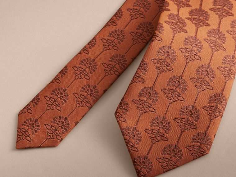 Slim Cut Floral Jacquard Silk Cotton Tie in Russet - Men | Burberry - cell image 1