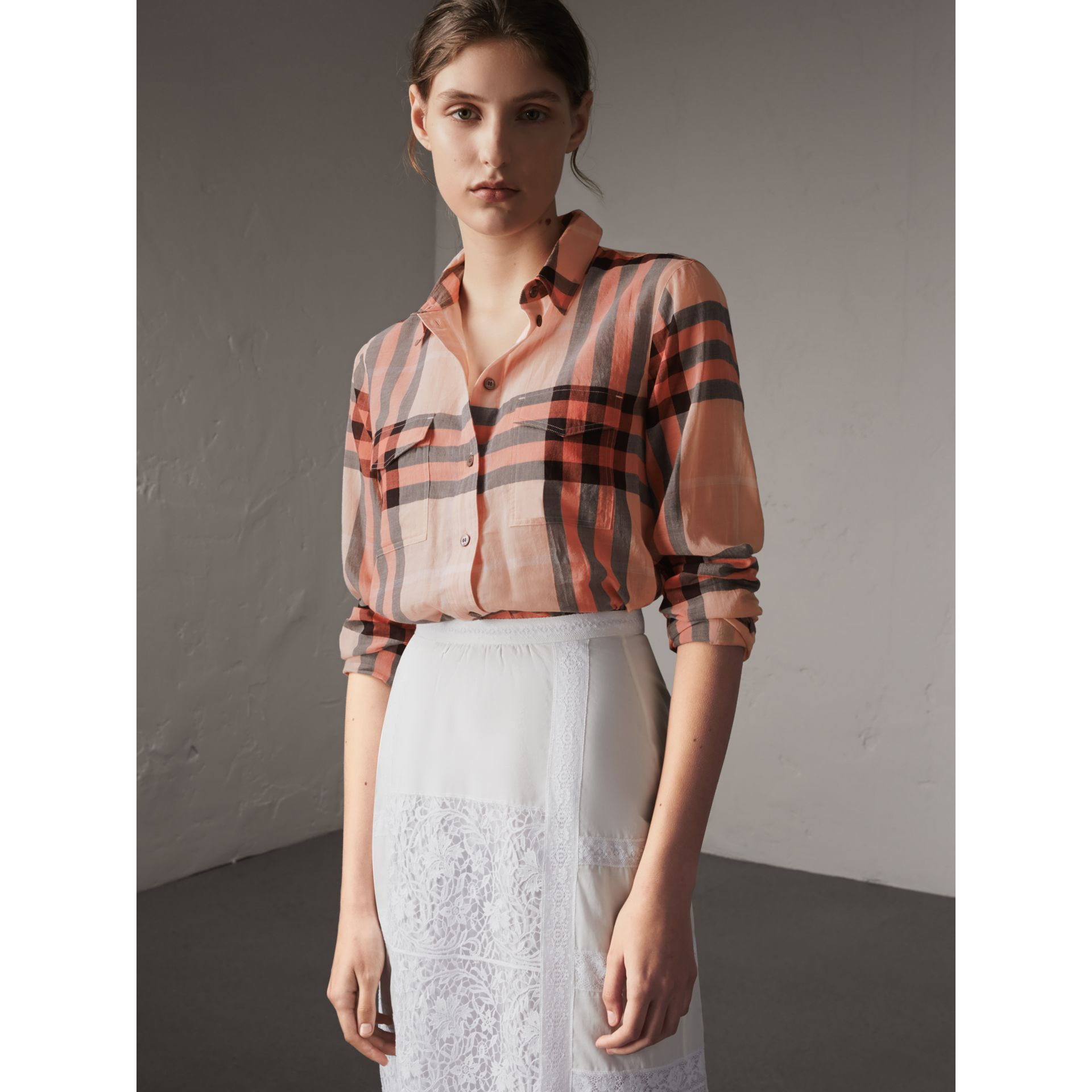 Check Cotton Shirt in Apricot - Women | Burberry Singapore - gallery image 5