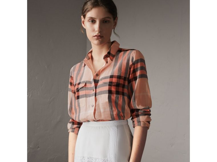 Check Cotton Shirt in Apricot - Women | Burberry - cell image 4
