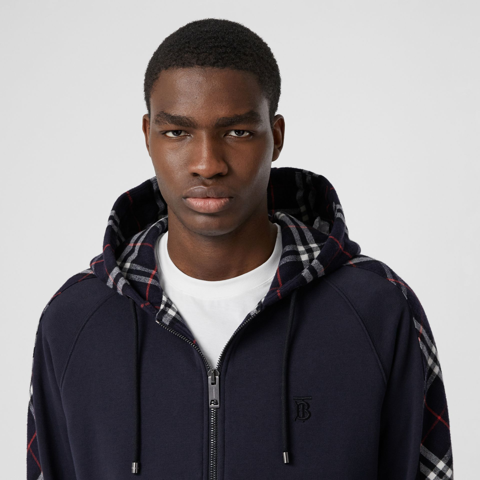Vintage Check Panel Cotton Hooded Top in Navy - Men | Burberry United Kingdom - gallery image 1