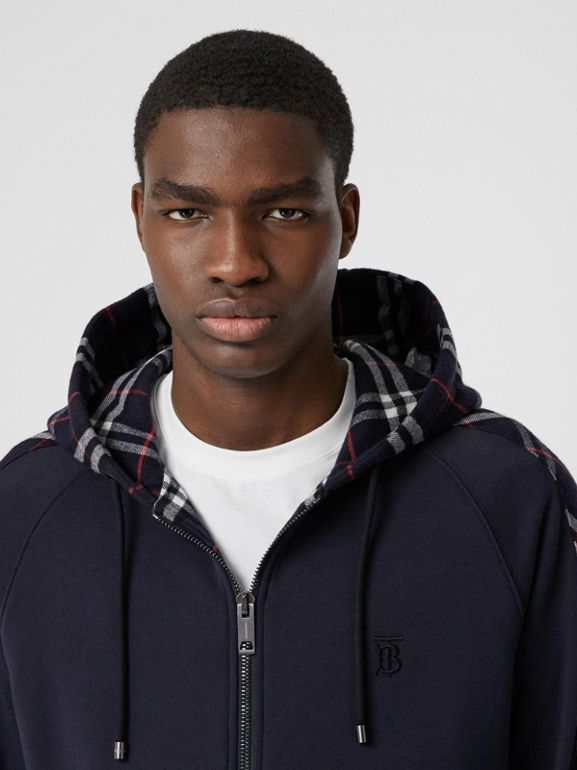 Vintage Check Panel Cotton Hooded Top in Navy - Men | Burberry United Kingdom - cell image 1