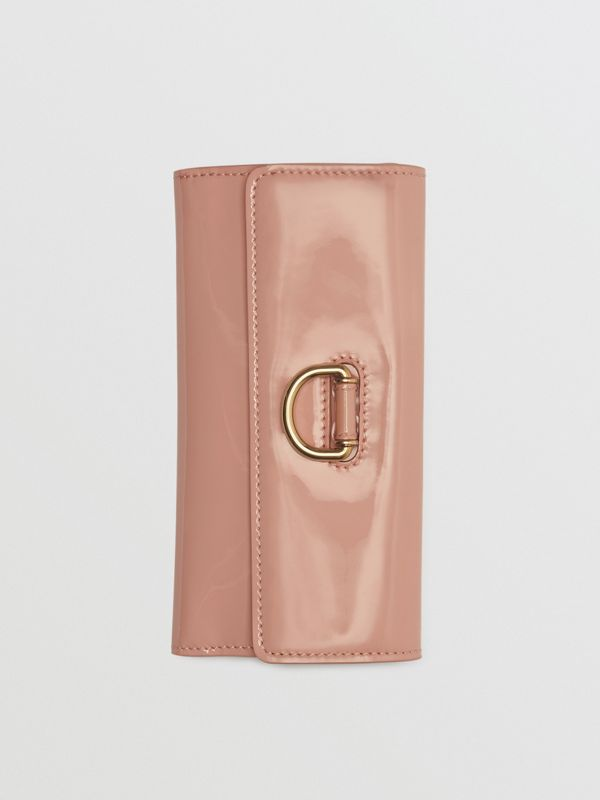 D-ring Patent Leather Continental Wallet in Pale Fawn Pink - Women | Burberry - cell image 3